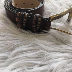 Leather Rock Jeweled Belt